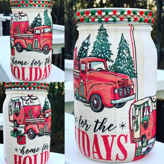 Home for the holidays red truck and camper lighted jar, lighted jars, jar lights, night lights, lighted Christmas jars, Christmas jar decor