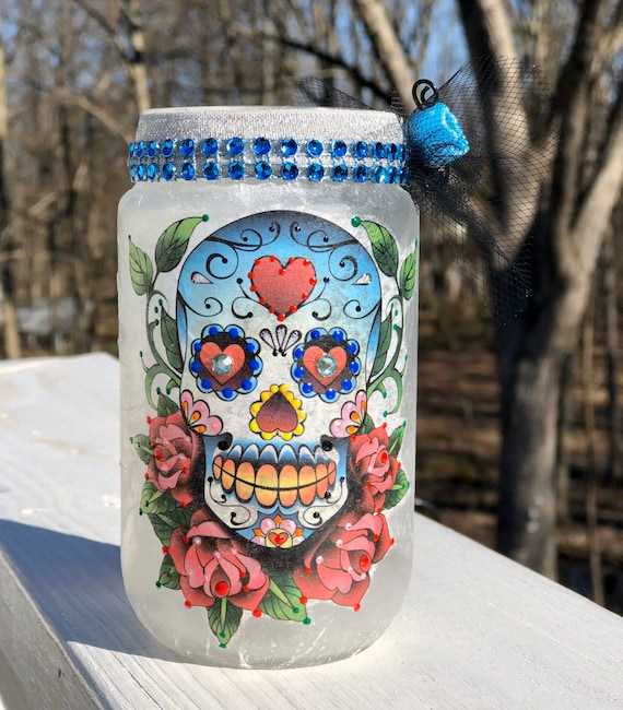 Baby blue eyed lighted sugar skull jar, sugar skull jars, lighted jars, lighted bottles, jar lights, sugar skull decor