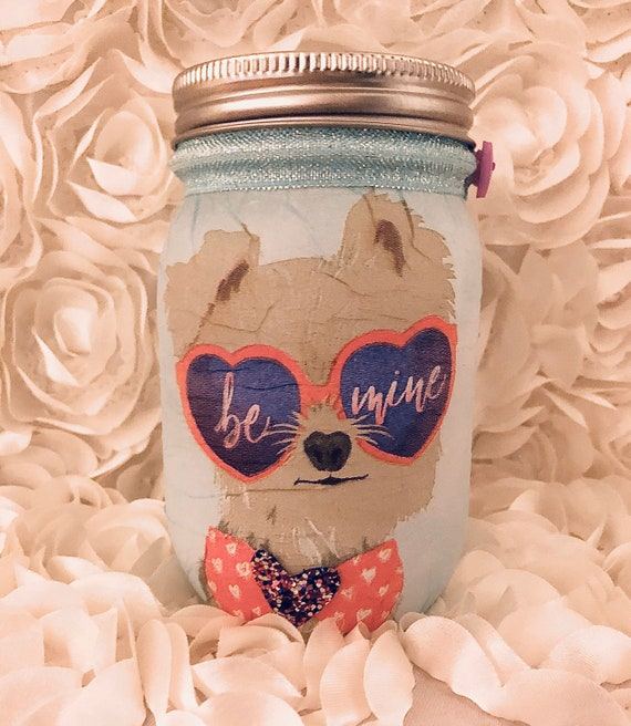 Be mine lighted puppy jar, lighted jars, lighted bottles, jar lights, valentine's jar