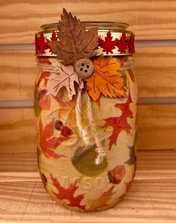 Fall leaves lighted jar, lighted jars, lighted bottles, fall decor, leaf jar, jar lights