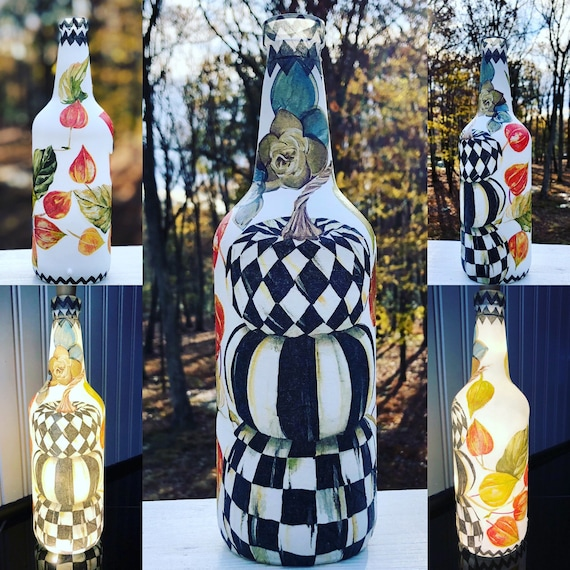 Checkered lighted pumpkin bottle, lighted bottles, lighted jars, bottle lights, jar lights, thanksgiving bottles