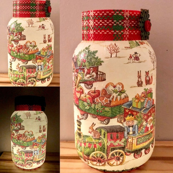 Lighted Christmas train jar, lighted jars, lighted bottles, night lights, Christmas jars, lighted train jar, lighted Christmas jars