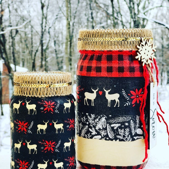 Buffalo plaid deer lighted jar set, lighted jars, lighted bottles, jar lights, Christmas jars, winter decor