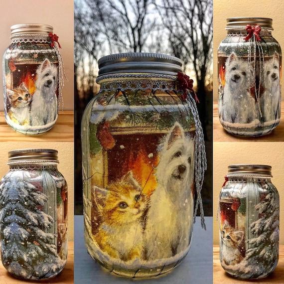 Lighted furry winter window friends jar, lighted jars, jar lights, night lights, pet night lights, Christmas jars, lighted fur baby jar