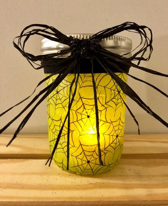 Spider jar, lighted jars, lighted bottles, mini spider jar, Halloween lighted jars, Halloween decor