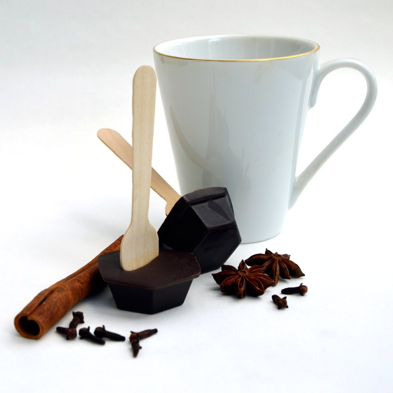 Hot Chocolate Stirrer Spoon Spicy Cinnamon Chocolate on a image 0