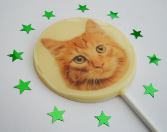 Ginger Cat Gift, Cat Lover Gift, Cat Owner Gift, Ginger Cat Lollipop, Goody Bag Filler, Cat Party Chocolate Favour, White Chocolate Lollipop