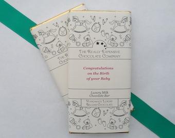 New Baby Girl Gift, Newborn Baby Gift, Congratulations New Baby,  Customised Chocolate Bar, New Parents Chocolate, Baby Shower Chocolate