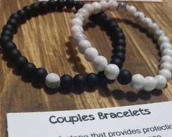 Couples bracelet, howlite bracelet, anniversary gift, together, stronger, Long distance gift