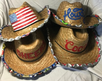 1558a0a0b10 Hand Painted Beer-Bottle-Cap Straw Cowboy Hat