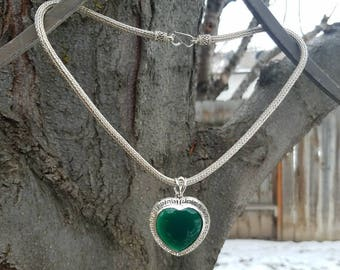 Green Onyx and Sterling Silver Heart Pendant on Wheat Chain Necklace