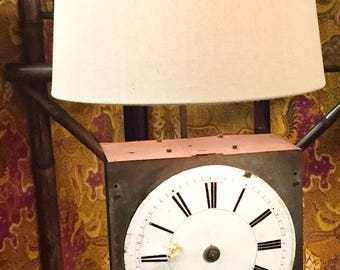 Custom Table Lamp w/ Antique French Clock Face