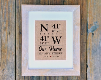 OUR HOME print: Coordinates Print, Home Coordinates, Closing Gift, Personalized Burlap Print, Housewarming Gift, Entryway Art, Realtor Gift