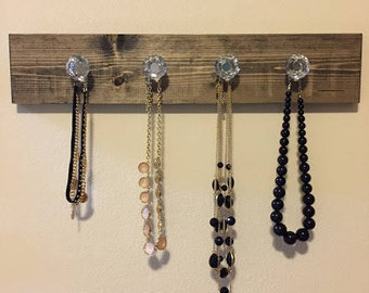 Necklace Holder | Crystal Knobs | Handmade Jewelry Holder
