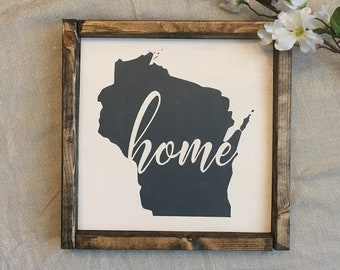 State HOME Framed Sign | Wood Sign | Handmade | Customizable
