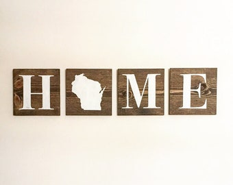 State HOME Blocks | Wood Sign | Handmade | Customizable