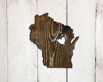 Wisconsin Wood Cut Out with City Marker