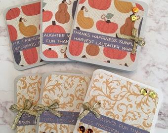 Fall 3x3 Mini Cards - Set of 6, Pumpkins and Damask, Foil, Blank Inside