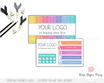 Color street loyalty card punch card business card sized business cards herringbone custom printable business card punch card or spotted card colourmoves