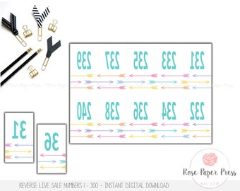 Live Sale Numbers, Arrows | Printable Digital Download | Reverse Numbers, Mirrored Numbers, Live Sale Number Tags, Coat Check Tags