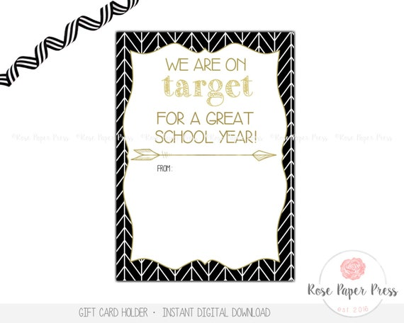 Teacher Back To School Gift Card Holder On Target Instant Download Teacher Gift Card Gift Tag Appreciation Gift Teacher Gift