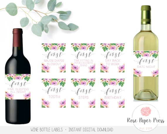 picture regarding Free Printable Wine Bottle Label titled Mother Wine Labels, Floral Fresh Mom and dad Present, Fresh new Mother Present, Youngster Shower Present, Milestone Stickers, Mother Firsts Wine Labels, Revealed or Printable