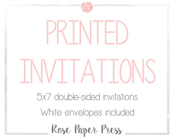 printed invitations 5x7 invitations with envelopes etsy
