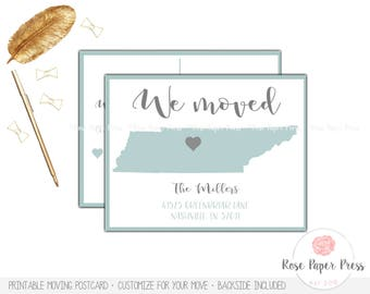 State Heart Moving Postcard | Printed or Printable Card, Moving Cards, New Home Postcard | Moving Announcement | New Address Cards, We Moved