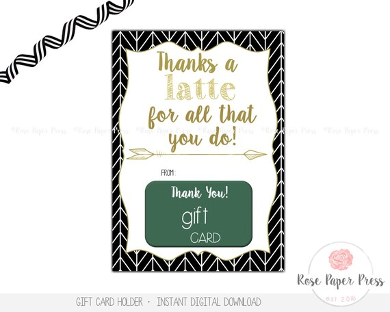 Coffee Gift Card Holder Thanks A Latte Teacher Appreciation Etsy