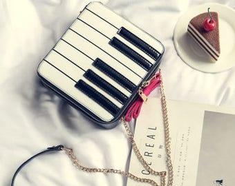 Free Shipment Petit Handbag Keyboard Handbag Pink Ribbon Chain Strap Clutch Bag