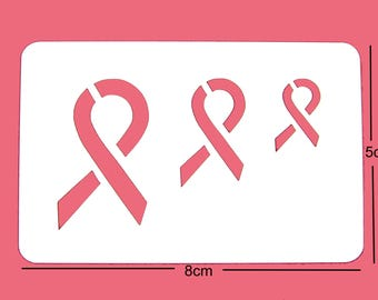 Pink Ribbon Breast Cancer Awareness Face Paint Stencil 8cm x 5cm