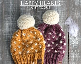 Happy Hearts Knit Toque