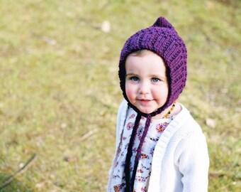 fa5acf2dbc8 Pearl Pixie Bonnet    Knit Pixie Bonnet    Pixie Hat    Knit Bonnet    Gnome  Hat