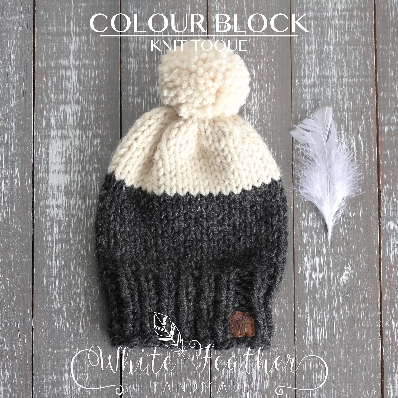 Color Block Knit Toque l Chunky Knit Color Block Hat l