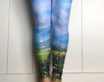 Sky Scene Yoga Pants  Yoga Leggings   yoga wear   Printed Leggings  blue yoga leggings   blue yoga pants   boho yoga leggings   gift for her