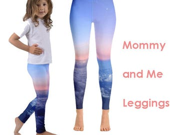 Mommy and Me Sunset Sky Leggings Set   Mother Daughter   Mommy and Me Yoga   Mommy and Me Clothes   Printed Leggings   Mommy and Me Outfit