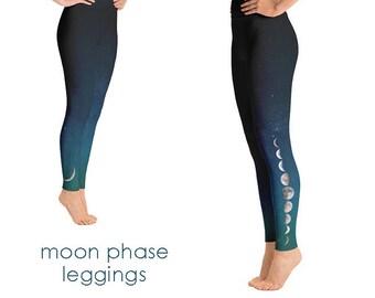 Moon Phase Yoga Leggings | Moon Phase Leggings | Moon Leggings | Yoga Pants |Moon Yoga Pants |Moon Yoga |galaxy yoga pants |space yoga pants