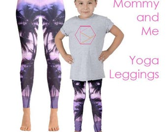 Pink Palm Trees Yoga Pants Set; Mother Daughter Printed Yoga Leggings for Mommy and Me Days. girls yoga pants and women's active wear set