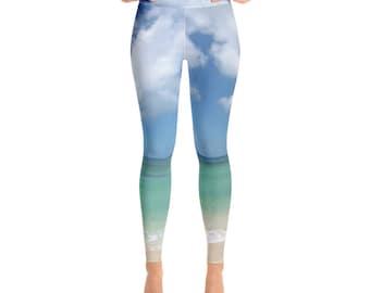 Oahu North Shore Yoga Leggings   Tropical Yoga Pants  Blue Yoga Leggings  Ladies Leggings  Tropical Leggings  yoga clothing  yoga gift ideas