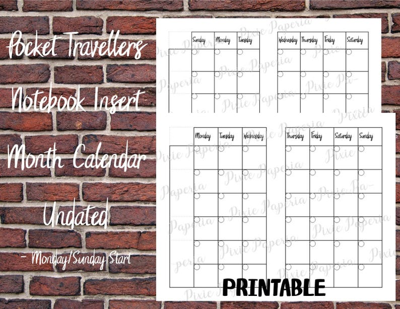 Monday /& Sunday Start Pocket Travelers Notebook Undated Calendar Insert PRINTABLE