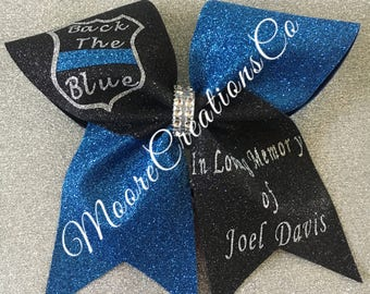 Back the blue memorial cheer bows