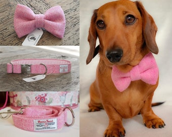95c430c87b69 Harris Tweed Baby Pink Bow Ties, Leads, Bandanas, Scarf, Collars For Dogs  Dickie Bow Accessories For Dogs and Puppies