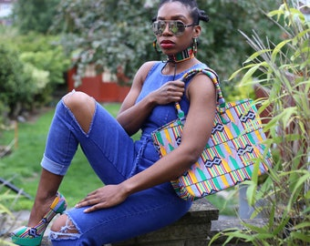 Kente Queen Tote Bag/ Ankara