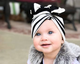 Black and white, baby turban, baby hat, infant hat
