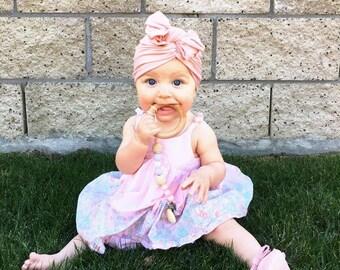 Blush pink, baby turban, baby hat, infant hat