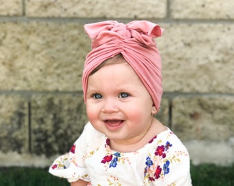 Dusty rose, baby turban, baby hat, infant hat