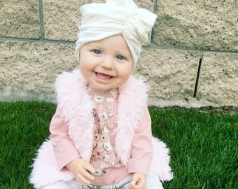 Off white, baby turban, baby hat, infant hat