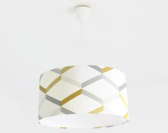 Chandelier hanging ceiling light-geometric - Scandinavian - yellow gray - cylindrical Lampshade - round cylinder + wire