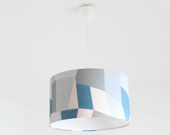 Chandelier hanging ceiling light-geometric - Scandinavian - blue grey pastel pink - cylindrical Lampshade - round cylinder + wire
