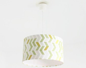 Chandelier hanging ceiling light-geometric - Scandinavian - yellow-green - cylindrical Lampshade - round cylinder + wire